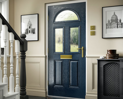 Blue door, inside house, bottom of stairs